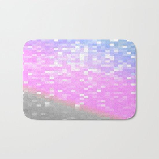 Pink Lavender Gray Pixels Bath Mat