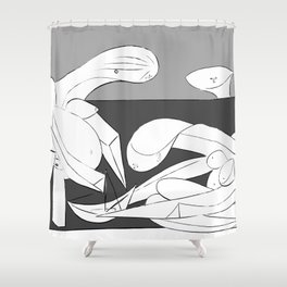 Picasso - On the beach (Grey) Shower Curtain