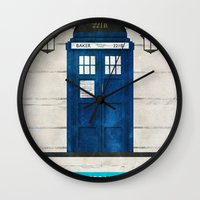 doctor Wall Clocks featuring Doctor Who & Sherlock by Sof Andrade