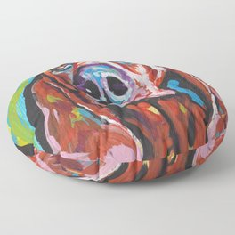 Fun REDBONE COONHOUND Dog bright colorful Pop Art painting by Lea Floor Pillow