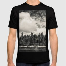 Far Away Clouds Passing By Black MEDIUM Mens Fitted Tee