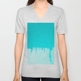 Modern turquoise ombre white abstract watercolor brushstrokes Unisex V-Neck