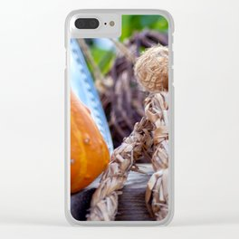 Pumpkin with straw rope Clear iPhone Case