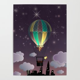 Balloon Aeronautics Night Poster
