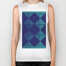 Blue,Diamond Shapes,Square Biker Tank