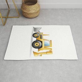 Yellow Excavating Tractor Icon Rug
