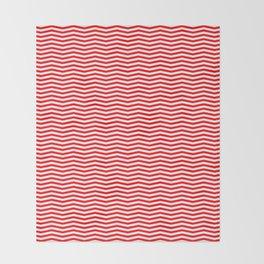 Red and White Christmas Wavy Chevron Stripes Throw Blanket