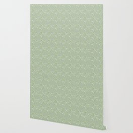 Mint green watercolor hand painted floral leaves Wallpaper