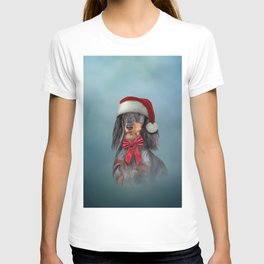 Dog Dachshund in red hat of Santa Claus T-shirt