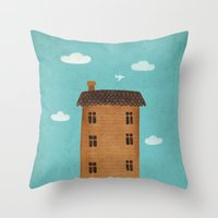 plane Throw Pillows featuring Plane by Oksana Tarasova