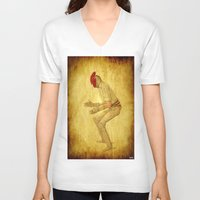 cock V-neck T-shirts featuring Cricket cock by Joe Ganech