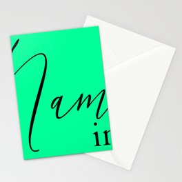 'Namaste in this Pose' in Neon Mint Green and Black Yoga Exercise Stationery Cards