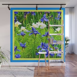 WHITE-BLUE IRIS & FERNS GARDEN Wall Mural