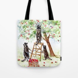 Cute Raccoons in the Orchard Tote Bag