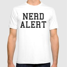 Nerd Alert Funny Quote Mens Fitted Tee White MEDIUM