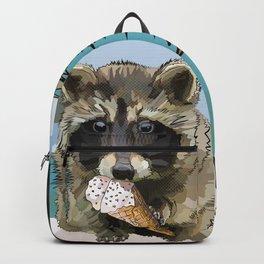 Raccoon Eating Ice-cream on the Beach | Summer Vacation | Cute Baby Animal Backpack