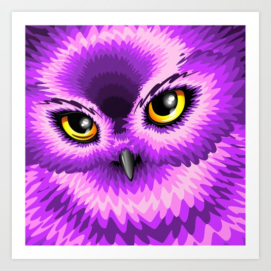 Pink Owl Eyes Art Print