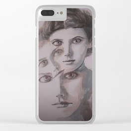 watercolor portrait of the Spirits in Her Head Clear iPhone Case