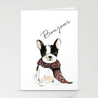 craftberrybush Stationery Cards featuring Joyeux Noel Frenchie Dog by craftberrybush