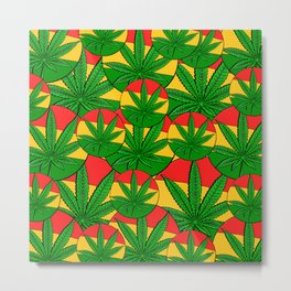 Feeling Sunny Rasta Green  ganja pattern, cannabis leafs, red, green, yellow colors Metal Print