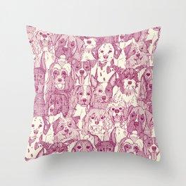 dogs aplenty cherry pearl Throw Pillow