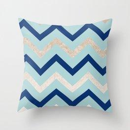 Marine zig zag - golden gradient turquoise Throw Pillow