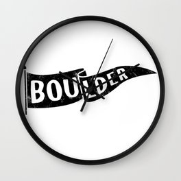Boulder Colorado Pennant Flag // University College Dorm Room Graphic Design Decor Black & White Wall Clock