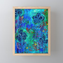 In Too Deep - Blue Abstract Flowers Framed Mini Art Print
