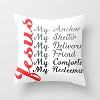 jesus Throw Pillows featuring Jesus by DaceDesigns