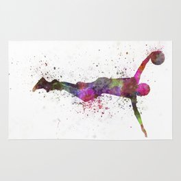 young man basketball player dunking Rug