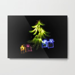 Christmas Lights a tree and presents light painting photograph Metal Print