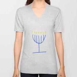 blue menorah,Hanukkah,jewish,jew,judaism,Festival ofLights,feast of Dedication,jerusalem,lampstand Unisex V-Neck