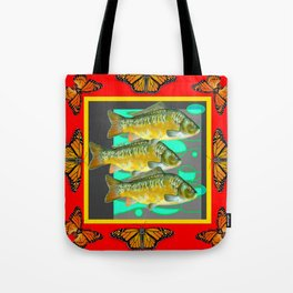MONARCH BUTTERFLIES YELLOW-RED FISH VIGNETTE Tote Bag