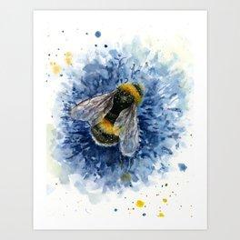 Bumblebee on blue flower watercolor print  Art Print