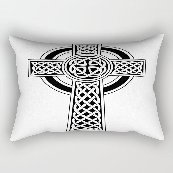 St Patrick's Day Celtic Cross Black and White Rectangular Pillow