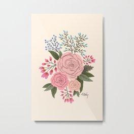 Blushy Bouquet Metal Print