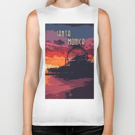 Sunset in Santa Monica, California Biker Tank