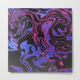 Modern Pink Black Blue Glitter Marble Pattern Metal Print