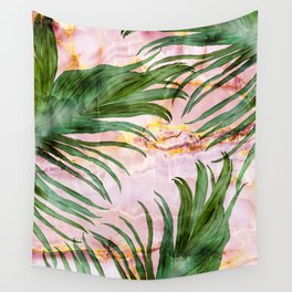 Palm leaf on marble 01 Wall Tapestry