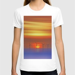Wind Farms at Sunset (Digital Art) T-shirt