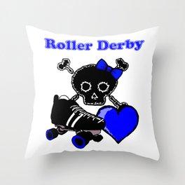 Roller Derby Heart (Blue) Throw Pillow