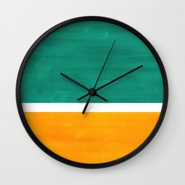 Colorful Bright Minimalist Rothko Minimalist Midcentury Art Marine Green Gold Vintage Pop Art Wall Clock