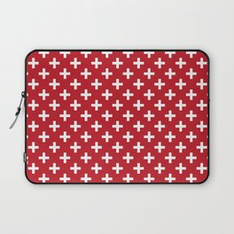 Criss Cross | Plus Sign | Red and White Laptop Sleeve