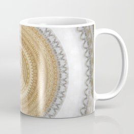 Gold white White and Silver Marble Coffee Mug