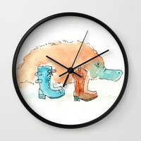 platypus Wall Clocks featuring Platypus In Boots by Taylor Winder