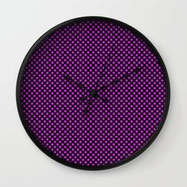 Black and Dazzling Violet Polka Dots Wall Clock