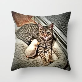 Chrome Cat and Mouse Throw Pillow