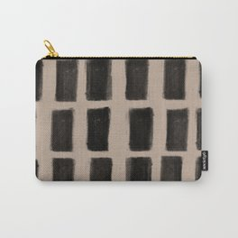 Brush Strokes Vertical Lines Black on Nude Carry-All Pouch