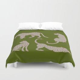 Leopard Block Party - Olive Duvet Cover