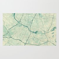 austin Area & Throw Rugs featuring Austin Map Blue Vintage by City Art Posters